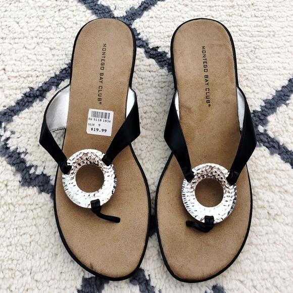 1c97b1a66 Montego Bay Club Black Wedge Sandal New Size 9